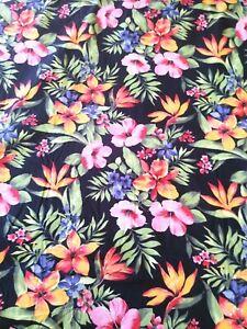 "Tropical Black Hibiscus Floral Hawaiian Shirting Cotton Fabric~By Yard~36"" x 57"""