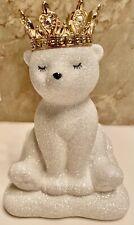 New Bath&Body Works Royal Polar Bear Glitter Ceramic Hand Soap Holder Gold Crown