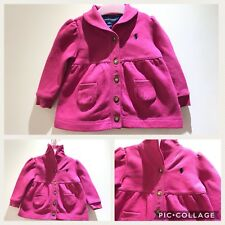 Baby Girls RALPH LAUREN Thick Cardigan Jumper High Neck 100% Authentic 12M Logo