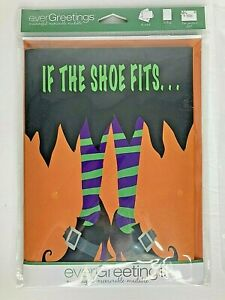 New EverGreetings Halloween Card and Flag: If the Witch Shoe Fits ~ Rare Gift