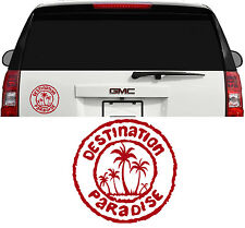 DESTINATION PARADISE HAWAII FLORIDA OCEAN PALM TREE DECAL STICKER 6 INCH  DK RED