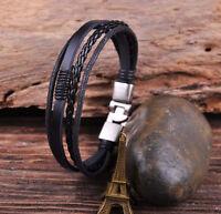 S532 Surfer Leather & Hemp Hand Braid Bracelet Wristband Men's Cuff Silver Black