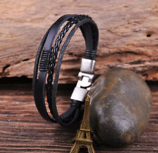S532 Surfer Leather & Hemp Hand Braid Bracelet Wristband Men's Cuff Silver Black