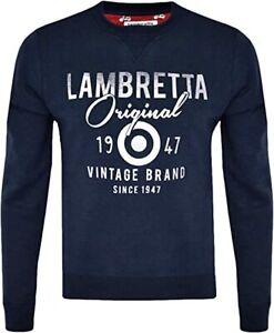 LAMBRETTA MENS ORIGINALS CREWNECK SWEAT JUMPER NAVY & GREEN