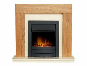 """Adam Dakota Fireplace Oak & Cream + Colorado Electric Fire Black, 39"""""""