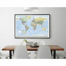 Weltkarte mit Flaggen - Premium Poster Plakat Querformat Lernkarte - 91,5x61 cm