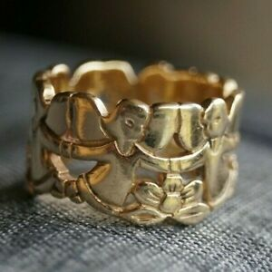 *Retired & Very Rare* James Avery ANGELS with FLOWERS Band 14k Gold Size 6.75