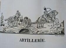 Artillerie vers 1800 gravure sur bois