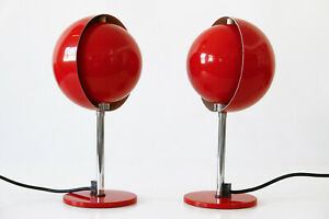 SET of TWO Mid Century Modern MOON TABLE LAMPS by HUSTADT LEUCHTEN,1960s Germany