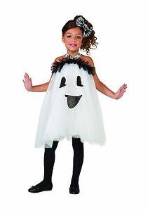 Girls Ghost Tutu Costume Crinoline Frilly Ruffled Fancy Dress Halloween Kids S M