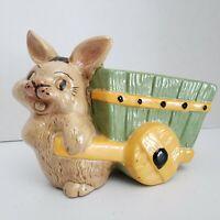Vintage Ceramic Bunny Rabbit Planter Wagon Easter Spring Decor Carriage Garden