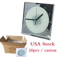 """USA Stock 7.8"""" x 7.8"""" Sublimation Blank Glass Photo Frame with Clock"""