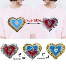 Heart Sequins Patch Reversible Color Applique Sewing Badge DIY Clothes Bag Paste