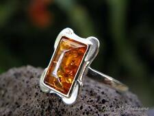 Baltic Amber & 925 Solid Silver Ring (Size 6, L 1/2) #264583