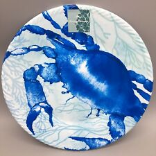 "4pc Tommy Bahama Melamine Dinner Plate Set of 4 Crab Blue Ocean Sea Life 11"" NEW"