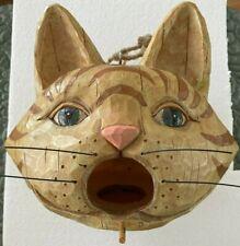 So Cute Wood Carved Look Cat Birdhouse