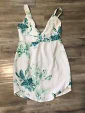 Green White Floral Cocktail Dress/ V-neck Party Cocktail Clubwear Dress