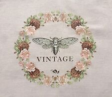 Shabby Chic Vintage Rose Garland Wreath Butterfly Fabric Iron On Heat Transfer