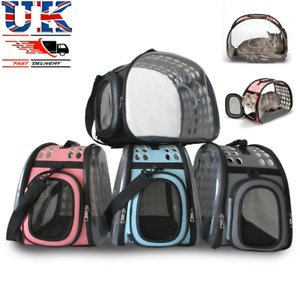 Pet Dog Cat Puppy Portable Lucency Travel Carry Carrier Tote Cage Bag Crates UK