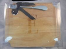 Mud Pie Wood Cheese Cutting Board with Spreader - Letter E Monogram #260205 NIB