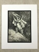 1870 Puss in Boots Cat Fairy Realm Gustave Dore Engraving Genuine Antique Print
