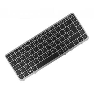 Black ES Laptop Keyboard w/ Silver Frame fit for HP Elitebook 840 G1 840 G2