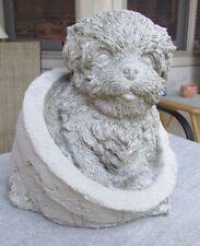 CONCRETE SHIH TZU, OR HAVANESE OR LHASA APSO DOG IN A FLOWER POT