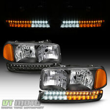 Black 1999-2006 GMC Sierra Yukon XL Headlights LED Parking Bumper Signal Lights