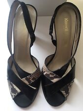 Russell & Bromley Black Heeled Mic-croc Sling Back Shoes, Size Uk 7, Euro 40