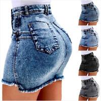 Women Summer Denim Skirts High Waist Bodycon Jeans Skirt Pocket Short Skirts  GT