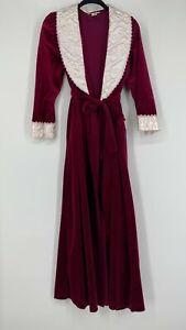 Vintage Velour Robe Wrap Womens Medium Lace Satin Collar Burgundy Purple 1980s