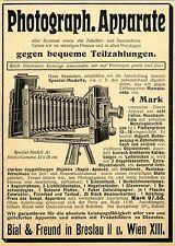 Photograph. Apparate Bial & Freund Breslau Wien Camera Historische Annonce 1904