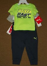 NWT PUMA Infant Baby Boys 3 Piece SET 2 BODY SUIT Tops Athletic PANTS 12 Months