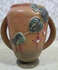 "Roseville Pottery Fuchsia Brown Flower Vase Motif Leave 2-Handle 893-6"" Made USA"