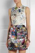 Markus Lupfer Vivian Satin Mini Multicolor Floral Patchwork Flared Dress XS