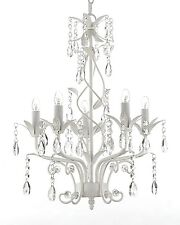 "Wrought Iron and Crystal 5 Light White Chandelier Pendant Lighting H20.5"" X W14"