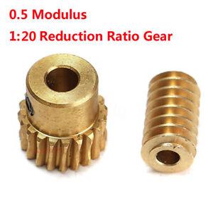 0.5 Modulus 1:20 Reduction Ratio 20Tooth Gear Motor Brass Copper Worm Wheel Gear