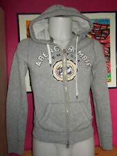Pull zip gilet sweat chaud gris à capuche ABERCROMBIE & FITCH M 34/36 effet usé