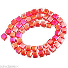10 Kristallperlen Crystal Glasperle Perlen Beads Fuchsie Quadrat DIY 10x10mm