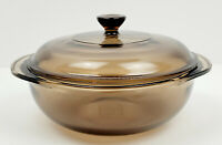 Vintage Pyrex 1.5 Liter Amber Corning Ware Visions 7 1/2 inch Bowl with Lid