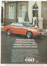 ORIGINAL 1980  MAGAZINE ADVERT FOR MITSUBISHI COLT MOTOR CAR