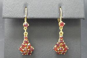 Ohrringe 333 GOLD 8 Karat Gelbgold boucle Ohrhänger Granat Art Deco earrings