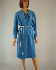 Vintage 70s Blue Faux Suede 2 Piece Short Sleeve Dress Suit Jacket Blazer s 14