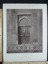 Rare Antique Original VTG Tomb In Tile At Multan Engraving Art Print