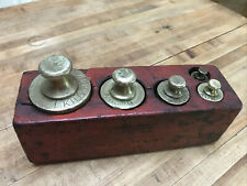 Antique Victorian Set - 5 Graduated Brass Weights, Scale Mercantile 1800s