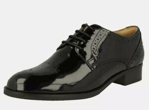 New Clarks Netley Rose Size Uk 3 E wide, Black Patent Leather EU 35.5