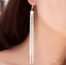 Earrings Rhinestone Tassels Womens Silver Dangle Drop Stunning Long Hook Linear