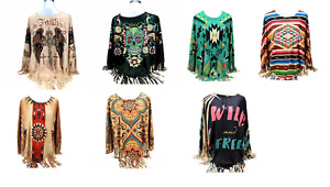 Montana West Poncho Western Womens Cross Aztec Skull Shirt Fringe Polyester Top