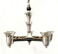 Antique Art Deco Lightolier Chrome Streamline Chandelier Black Metal Light 1930s