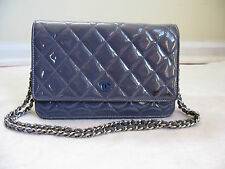 Authentic Chanel Blue Grey Patent Leather WOC Wallet On a Chain bag